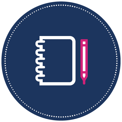 Small blue icon that represents the planner that is included with initial purchase