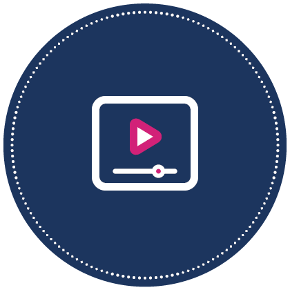 Small blue circle icon that represents action steps