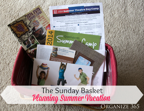 The Sunday Basket: Week 12 - Planning Summer Vacation |This week I am planning summer vacation for my kids. Follow Professional Organizer Lisa Woodruff every Sunday night for weekly paper organization and planning.