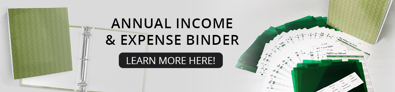 Annual income and expense binder