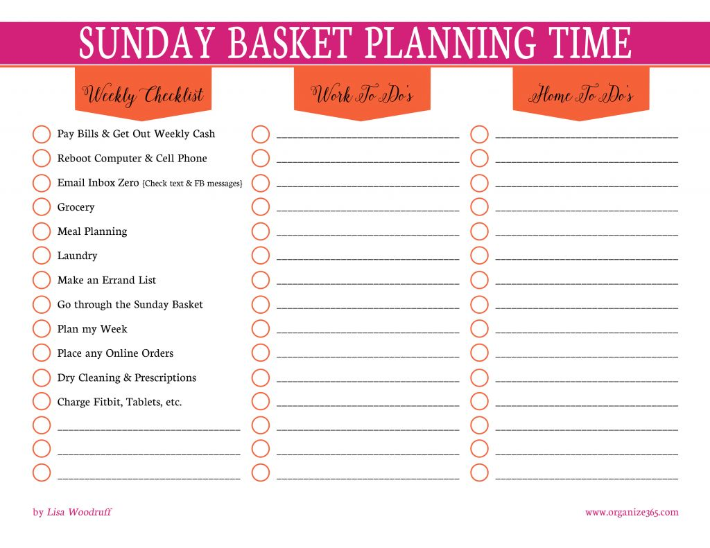 Sunday Basket Planning TIme | Every Sunday, I use these free planning printables to plan my week to help keep me on track and productive throughout the week!